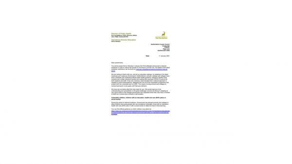 HCC Letter to Parents 110121